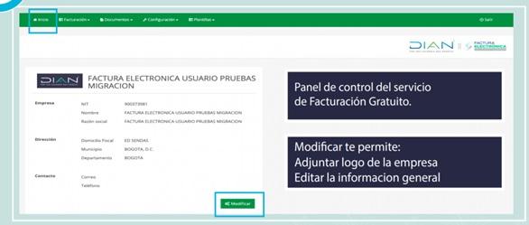 Captura de pantalla, panel de facturación gratuito DIAN.